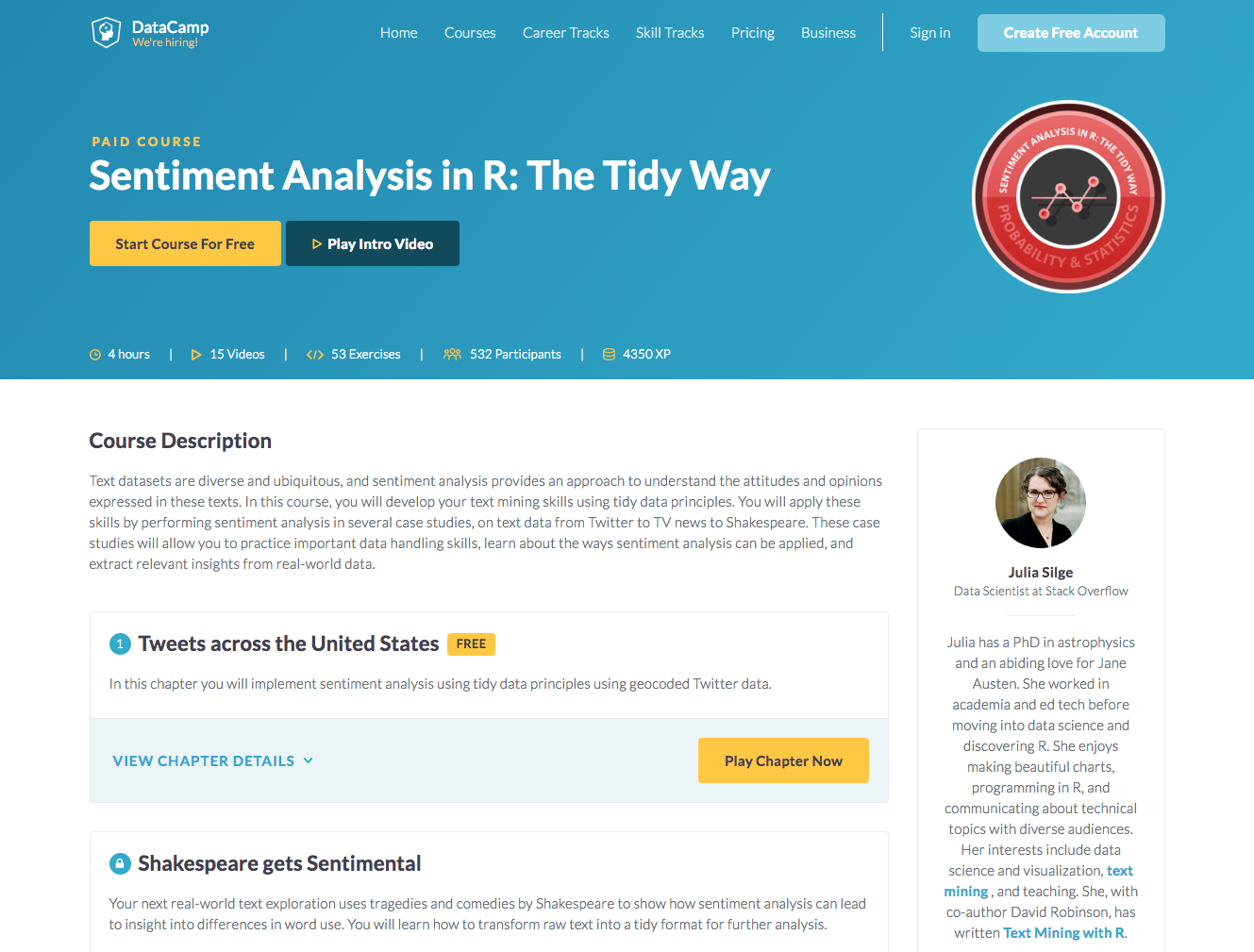 Sentiment analysis using tidy data principles at DataCamp